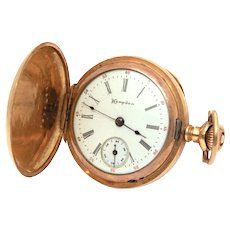 Antique Hampden Diadem Pocket Watch in Gold Filled Dueber Hunter Case with Watch Paper, Ladies