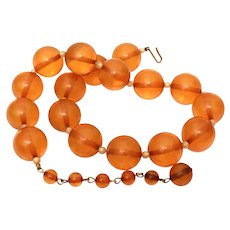 """Bakelite Bead Necklace in Warm Honey Amber Color 18.5"""" with Big 18mm Beads"""