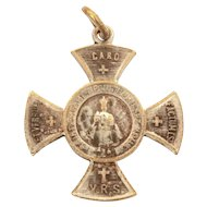 Infant of Prague Cross Miniature Catholic Medal, Bebe Doll Size