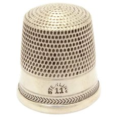 Antique Sterling Thimble with Delicate Fish Bone Stitch Decorative Band, Herringbone Style, Size 11