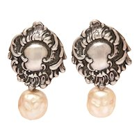 Designer Foree Sterling Faux Pearl Dangle Earrings, Victorian Revival