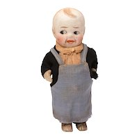 Bisque Boy Doll, Pot Belly with Movable Arms, Frozen Legs, 4.75""
