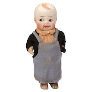 """Bisque Boy Doll, Pot Belly with Movable Arms, Frozen Legs, 4.75"""""""