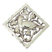 "1940s Sterling Framed Bird in Heart Leaf Tree, 2"" x 2"""