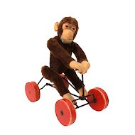 Steiff Record Peter Jointed Mohair Jocko the Monkey on Red Cart Pull Toy