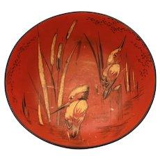 "Shelley Porcelain Kingfisher Bowl, Japonesque Design, 6.4"" Across"