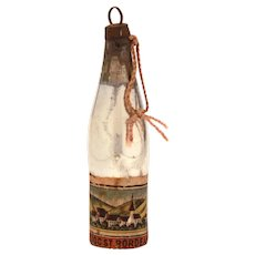 Antique Wine Bottle Mercury Glass Christmas Ornament with Paper Label, Medoc St. Bordeaux