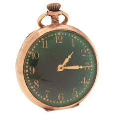 Ladies Elgin Pocket Watch Pendant with Green Face 15 Jewels, Running