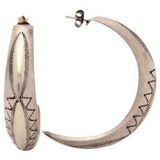 Large Navajo Sterling Pierced Half Round Hoop Earrings, Native American Indian Stampings