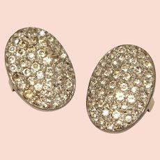 Art Deco Shoe Button Covers in Pot Metal with Sparkling Rhinestones