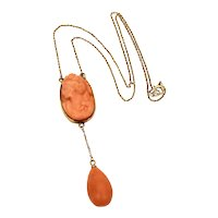 Antique Carved Coral Cameo 14k Gold Necklace with Tear Drop Dangle