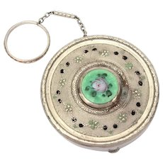 Art Deco Dance Compact Guilloche Enamel with Finger Ring & Chain