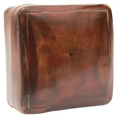 "Italian Florentine Leather Cufflink or Trinket Box, Italy Leather 2.25"" x 2.25"" x 1.25"