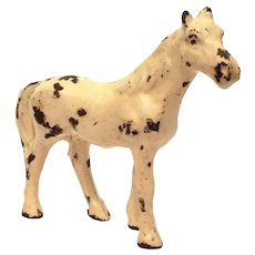 "Cast Iron Toy Horse Painted White Miniature 2.9"" Tall Pony"