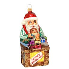 "Christopher Radko Santa's Workshop Christmas Ornament, Large 6.5"" Santa Claus with Toys"