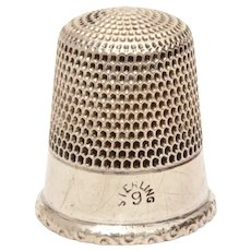 Antique Simons Sterling Thimble Size 9 Raised Rim with Curly Cue Design