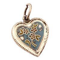 1940's Sterling Puffy Heart Charm Cold Painted Enamel Flowers
