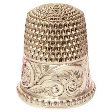 Antique Sterling Thimble Engraved Monogram AMC by Simons