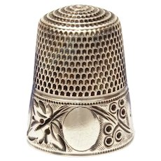 Antique Sterling Thimble Leaf & Berry Design by Simons Size 11