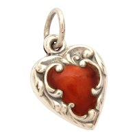 Sterling Deep Red Enamel Puffy Heart Charm, Engraved Name Jodie, Slightly Smaller