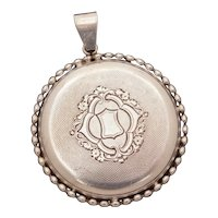 Antique Pocket Watch Case Pendant with Sterling Details