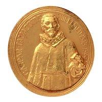 1967 Gaspar Taliacotius Plastic Surgery Congress Rome Gilded Bronze Medal by S. Johnson