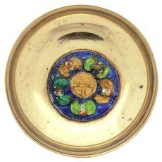Chinese Enamel Brass Dish with Bats, Stamped China