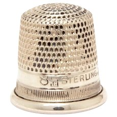 Antique Sterling Thimble Goldsmith Stern, SBC Fouled Anchor, Child Size 8