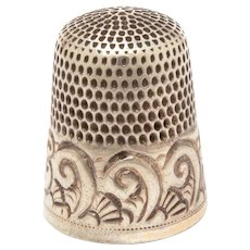 Sterling Simons Thimble Engrave Monogram MP, Size 12