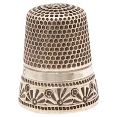MKD Sterling Thimble Ketcham and McDougal Impressed Fans and Dots, Size 8