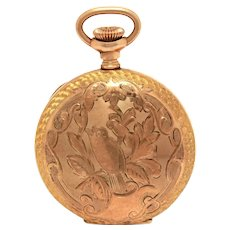 Antique Ladies Pendant Pocket Watch Hampden Engraved Bird Dueber Case