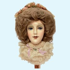 """Fashion Display Doll Head on Stick with Stand, Large 19"""" Tall,  Sir Cedric's Good Heads Signed Limited Edition Dated 1982"""
