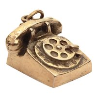 Rotary Telephone Charm Sterling Gold Wash by M&M Charm Co.