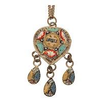 Italian ROMA Micro Mosaic Necklace with Dangles, Rome Italy Travel Souvenir