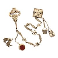 Antique Chatelaine Clip Pin with Sterling Watch Fobs, Perfume Bottle, Tassels, Basket Charm