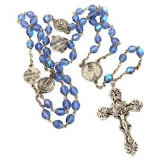 Vintage Rosary Sterling Crucifix Blue Glass Beads Pot Metal Saint Medals