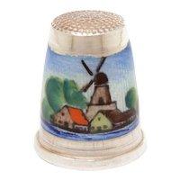 Sterling Enamel Windmill Thimble Germany