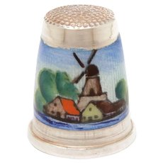 Sterling Enamel Windmill Thimble Germany