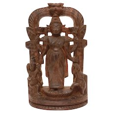 Antique Thai Shiva with Elephant Carved Wood Log Sculpture Statue 9.25""
