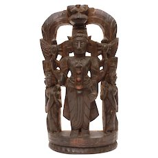 "Antique Thai Shiva Carved Wood Log Sculpture Statue Thailand 10 1/2"" Tall"