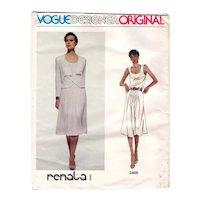 Size 12 Vogue Designer Original Renata of Paris Sewing Pattern 2469 UNCUT Jacket, Skirt, and Top