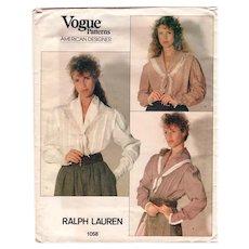 Size 12 Ralph Lauren Vogue Sewing Pattern 1058 American Designer UNCUT Romantic Blouse