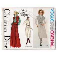 Size 10 Christian Dior Designer Original Very Easy Vogue Sewing Pattern 1755 UNCUT Jacket & Skirt