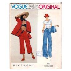 Size 10 Vogue Paris Original Givenchy Sewing Pattern 1696 UNCUT Casual Jacket & Pants