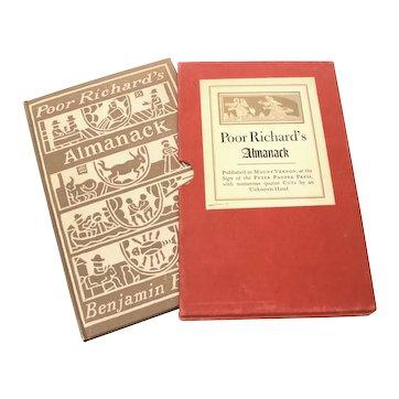 Poor Richard's Almanack Benjamin Franklin Peter Pauper Press Hardback Almanac Book in Slipcase