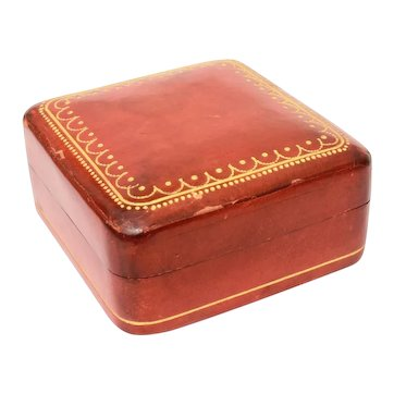 """Italian Florentine Leather Small 2 25"""" Box with Gold Embossed Design, Italy"""