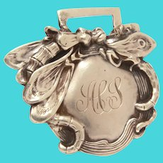 Kerr Art Nouveau Sterling Luggage Tag with Dragonfly Dragonflies