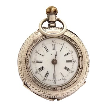 Antique Ladies Swiss Pendant Pocket Watch, 800 silver Geneve Cylindre 10 Rubis PARTS & REPAIR