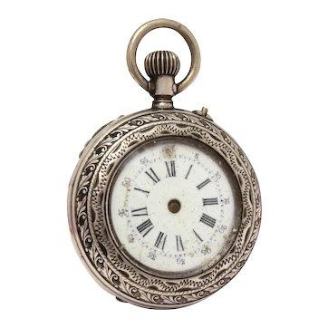 Antique 800 Silver Swiss Fairy Ladies Pendant Pocket Watch FOR PARTS & REPAIR