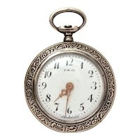 Antique Ladies Paskar Swiss Pendant Pocket Watch 800 Silver Case Engraved Spider Mums PARTS & REPAIR